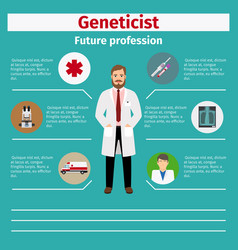 future profession geneticist infographic vector image vector image