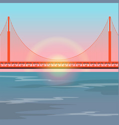 golden gate bridge against the setting sun vector image