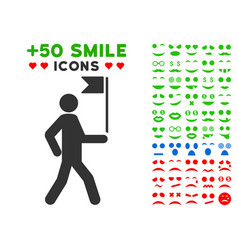 guide man with flag icon with bonus mood vector image