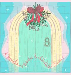 Handdrawn christmas mistletoe under the door vector