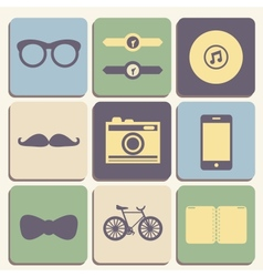 Hipster iconset vector image vector image