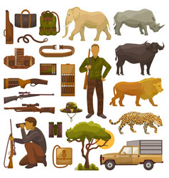hunt safari hunterman character in africa vector image vector image