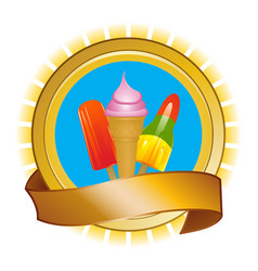 Ice cream and ice lollies on shield and banner vector