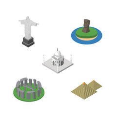 Isometric architecture set of india mosque vector