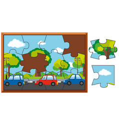 Jigsaw puzzle game with cars on road vector
