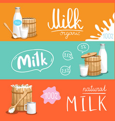 Milk products horizontal flyer set vector