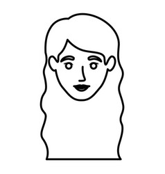 Monochrome contour of smiling woman face with wavy vector