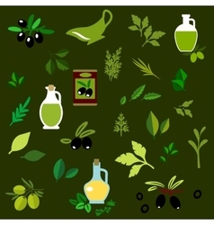 Olive fruits and herbs flat icons vector