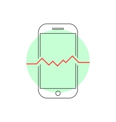 outline smart phone with heartbeat vector image