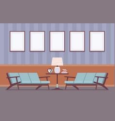 Retro interior with sofas frames for copyspace vector