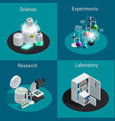 Scientific laboratory 2x2 isometric design concept vector