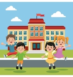 Students group happy back school building vector