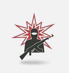 Terrorist with gun vector
