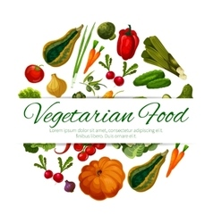 Vegetarian food poster vegetables harvest vector