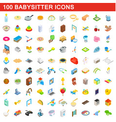 100 babysitter icons set isometric 3d style vector