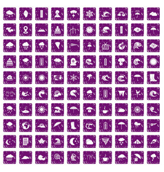 100 weather icons set grunge purple vector