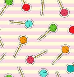 Candy lollipop art stitch patch background vector image