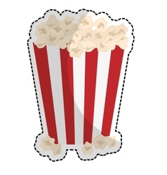 Popcorn in striped container icon image vector