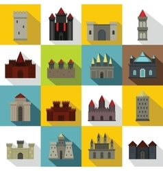 Towers and castles icons set flat style vector