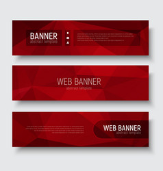 Set of horizontal web banners with abstract red vector