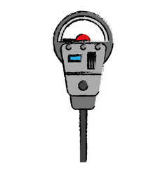Drawing parking meter payment machine vector