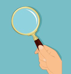 Male hand holding magnifying glass vector