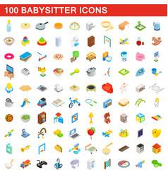 100 babysitter icons set isometric 3d style vector image