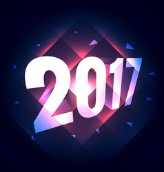 2017 new year text effect with shiny lines effect vector