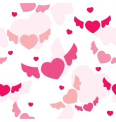 seamless background with flying hearts vector image