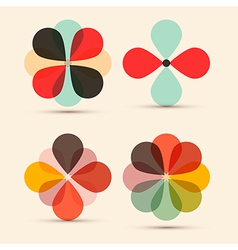 Abstract retro flowers set vector