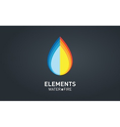 Water and fire elements logo design template vector