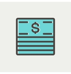 Stack of dollar bills thin line icon vector