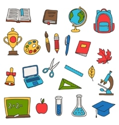 School and education set of hand drawn doodles vector