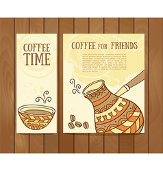 Coffee banners set with hand drawn coffee for vector
