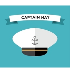 Captain hat with anchor flat icon vector