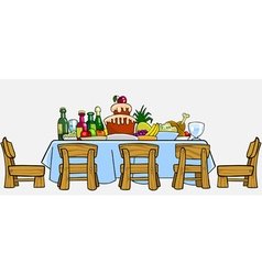 Cartoon table with chairs and cluttered food vector
