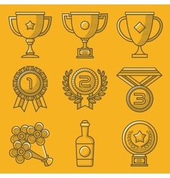 Trophy and awards retro yellow icon set vector