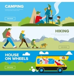 Banners of hiking and family andventure vector