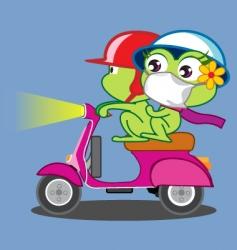 A frog couple riding vespa vector