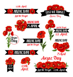 Anzac remembrance day badge of red poppy flower vector