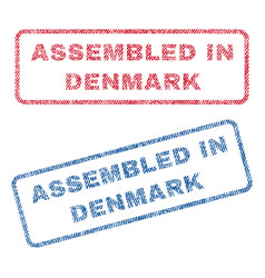 Assembled in denmark textile stamps vector