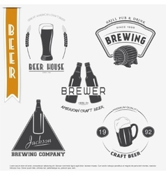 Beer and Brewing set Brewing typographic labels vector image vector image