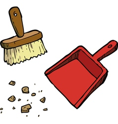 brush and dustpan vector image vector image