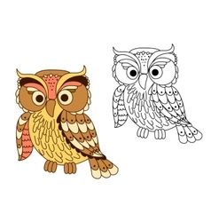 Cartoon owl bird in pastel colors vector image