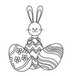 Easter rabbit with eggs decoration adorable line vector