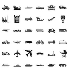 great transport icons set simple style vector image