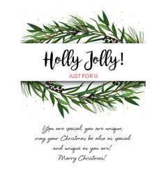 Greeting card invite with pine tree greenery vector