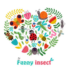 heart funny insect and plants vector image