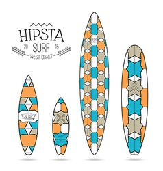 Hipster print for surfboards vector