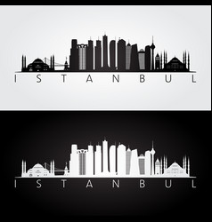 Istanbul skyline and landmarks silhouette vector